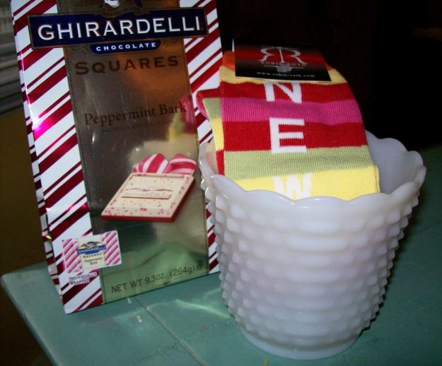 Milk Glass Flower Pot, Ghirardelli Peppermint Bark, & NY Socks