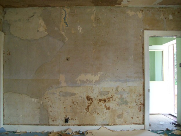 living room after panelling and paper