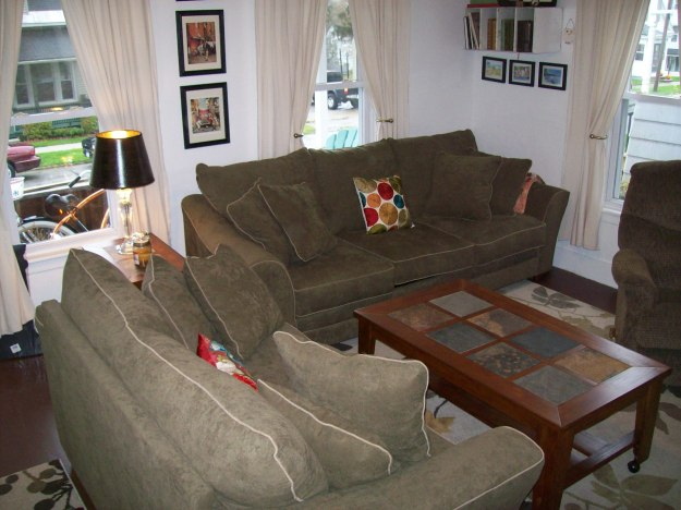 Living room renovation micro-fiber couch