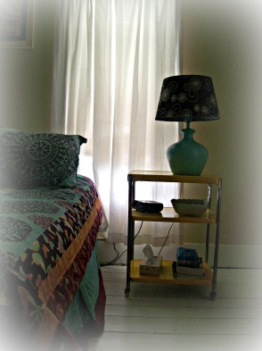 vintage yellow cart nightstand