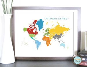 Kid's world map by Urban Tickle on Etsy