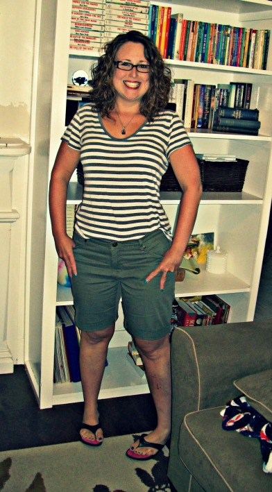 olive shorts and striped teeshirt