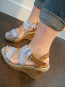 blue & white striped wedges Target
