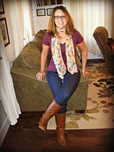 Fall Fashion - scarf with jeans and boots
