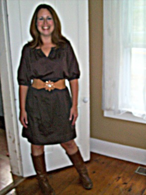 Dress with boots Target for fall with Wide Belt