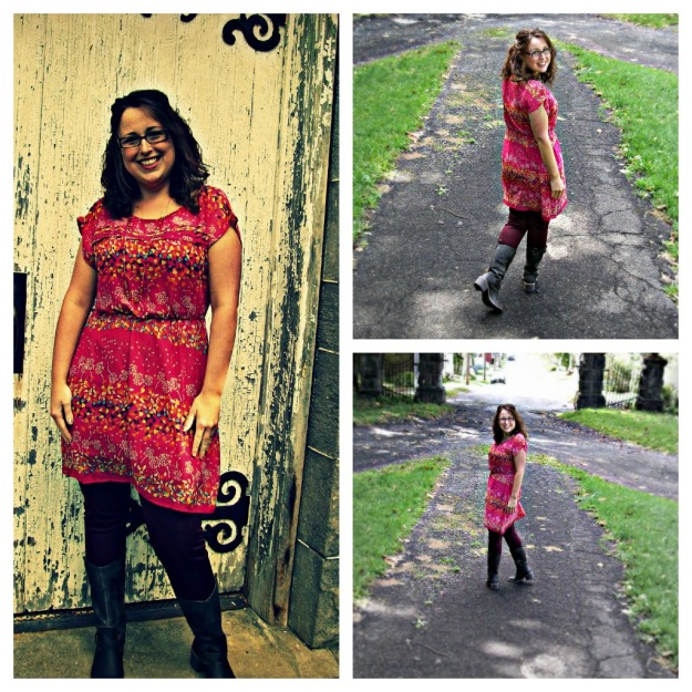 Collage of Target Dress, Oxblood Leggings, Boots