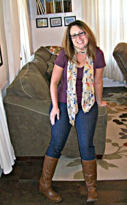 jeans t-shirt & scarf for fall