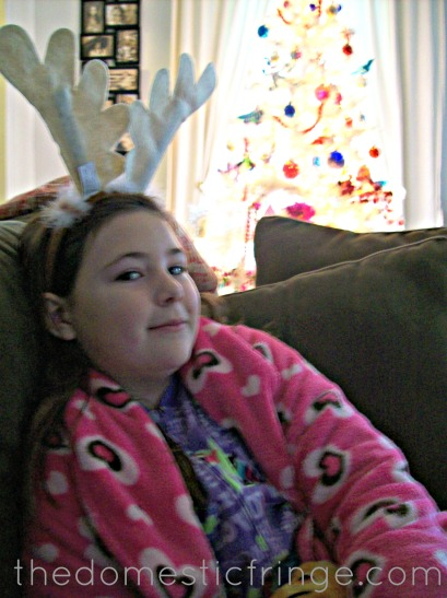 Antler headband and white Christmas tree