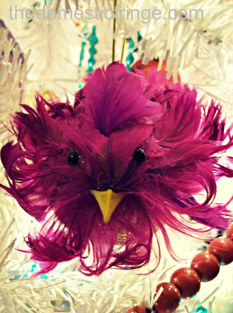 pink feather bird Christmas ornament @ The Domestic Fringe