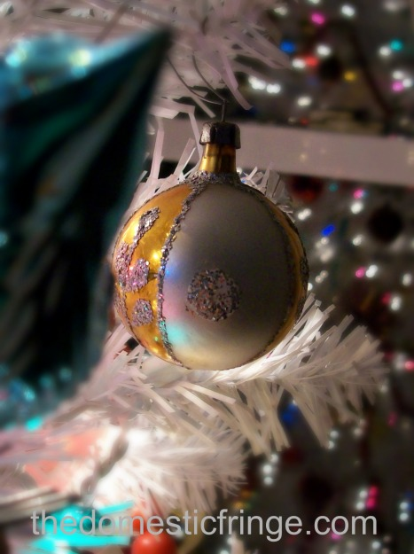 vintage gold & silver glass ball ornament @ The Domestic Fringe