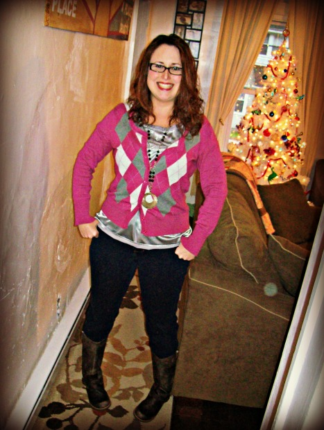mixed prints - argyle sweater and polka dot shirt