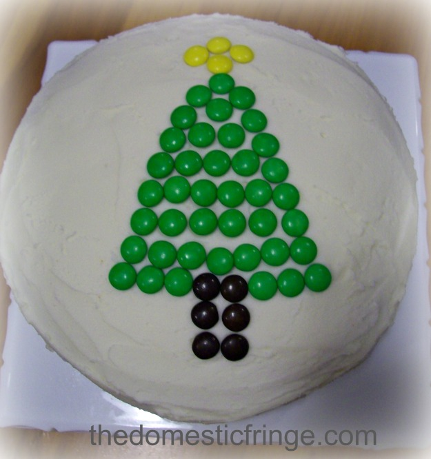 Christmas tree cake with M&M;s