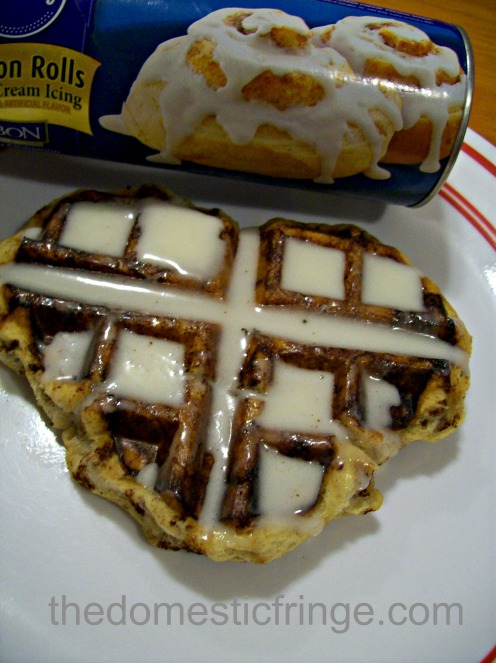 Pillsbury cinnamon roll heart shaped waffle
