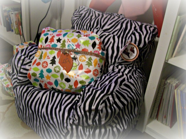 zebra print bean-bag chair