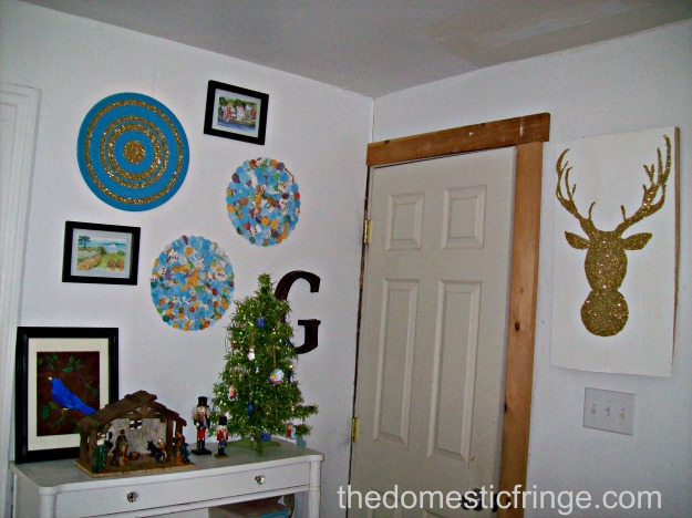 DIY home decor glitter deer and collage wall