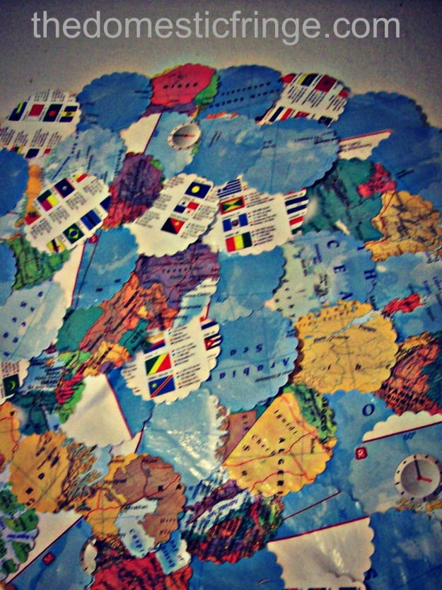 DIY old map into home decor