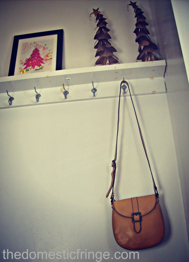 Fossil purse on coat hooks