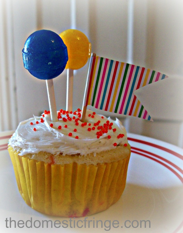 lollipop birthday cupcake yellow & blue