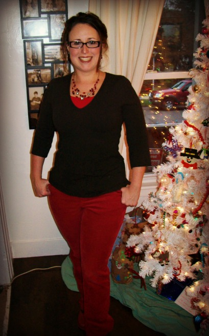 red cord pants - Christmas casual outfit