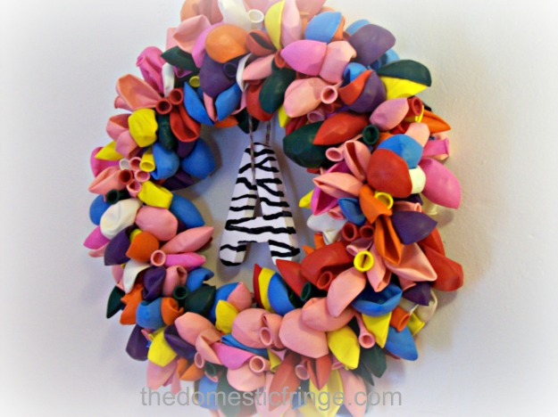 balloon wreath with zebra print letter A