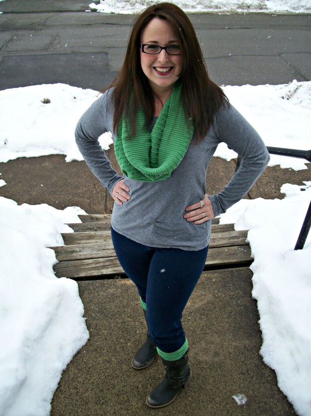 circle scarf and boot sock refashion wiww