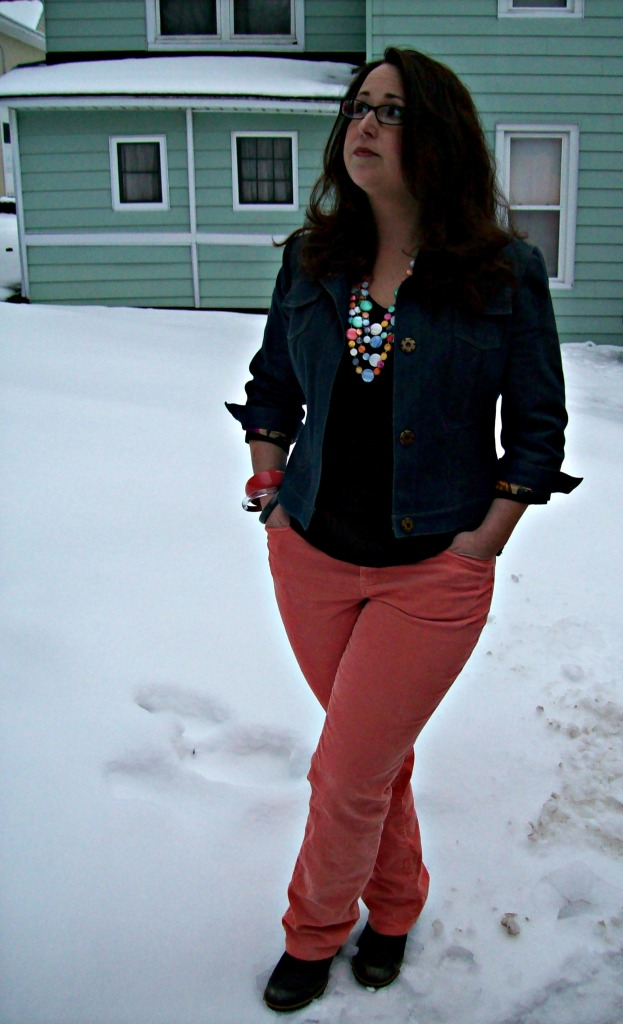 colored jeans and statement necklace