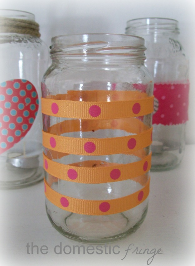 ribbon stripes on a candle holder DIY