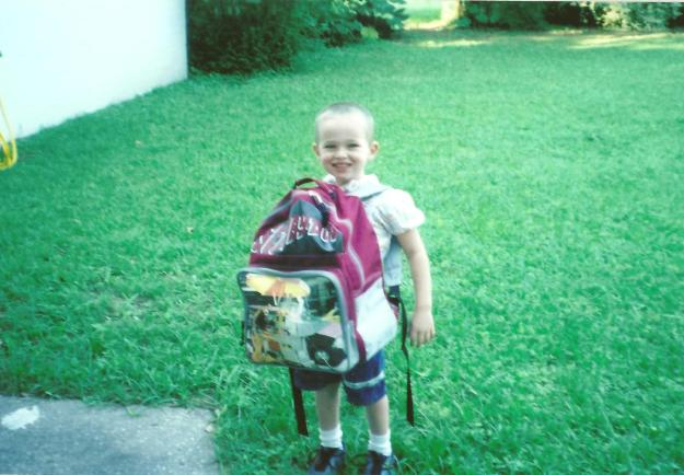 child on first day of preschool Scooby Doo backpack