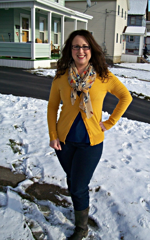 mustard sweater & scarf