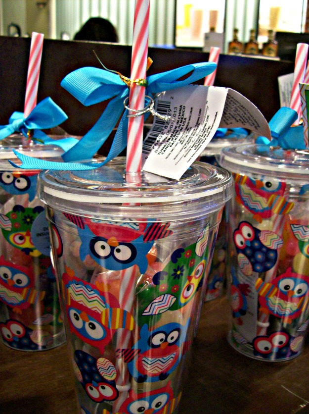 owl tumbler with striped straw Starbucks
