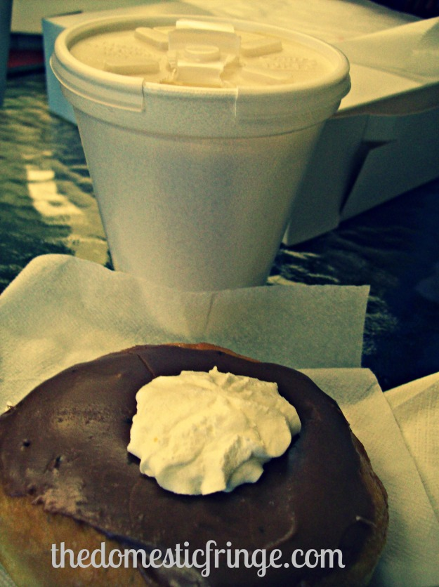 white hot chocolate & donut